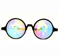 GloFX Black Kaleidoscope Rave Glasses - Rainbow Wormhole Diffraction Glasses