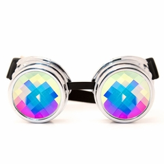 GloFX Chrome Rainbow Kaleidoscope Goggles with Adjustable Strap
