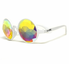 GloFX White Kaleidoscope Glasses - Rainbow Fractal - Flat Back