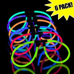 Glow Stick Glow in the Dark Glasses (Assorted 6 Pack)