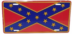 Gold Trim Confederate Flag License Plate