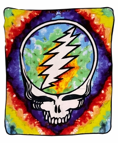 Official Grateful Dead Steal Your Face Tie Dye Fleece Throw Blanket (50 x 60 Inches)