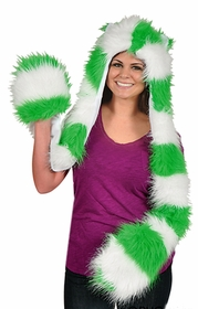 Green And White Furry Scarf