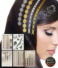 Hair Tattoos - By Bewild� Set of 5 sheets Containing 30 Hair Tattoos