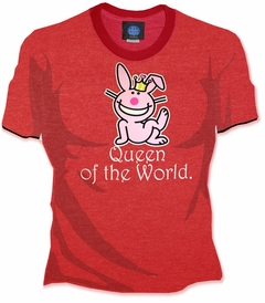 "Happy Bunny ""Queen of the World"" Girls Ringer Tee"