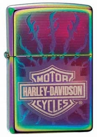 Harley Davidson Flaming Barbed-Wire Spectrum Zippo