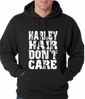 Harley Hair Don't Care Adult Hoodie