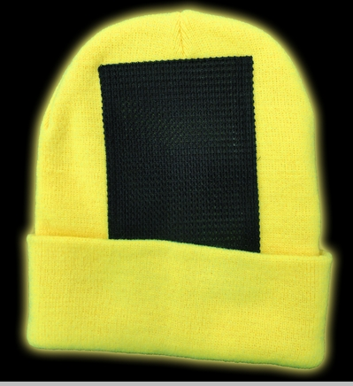 Head Spin Beanies - Neon Yellow Black Light Reactive Headspin Beanie<!-- Click to Enlarge-->