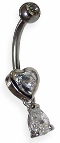 Heart and Teardrop Belly Jewelry