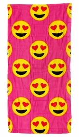 Heart Eyes Smiley Face Emoji Velour Beach & Bath Towel (Pink)