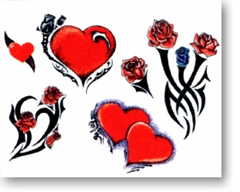 Hearts & Roses Temporary Tattoo