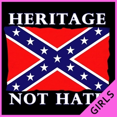 Heritage Not Hate Confederate Flag Girls T-shirt