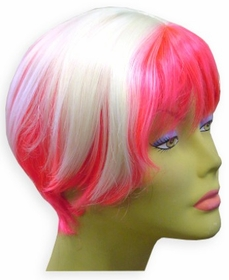 Hot Pink / White Two Tone Wig