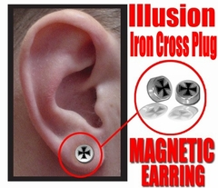 Illusion Iron Cross Magnetic Stud Earring (Chrome)