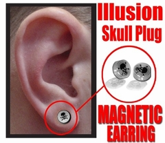 Illusion Skull Magnetic Stud Earring (Chrome)