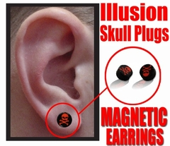 Illusion Skull Plug Magnetic Earrings