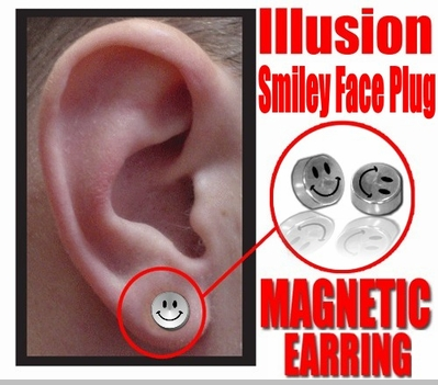 Illusion Smiley Face Magnetic Stud Earring (Chrome)<!-- Click to Enlarge-->