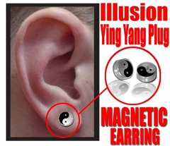 Illusion Ying Yang Magnetic Stud Earring (Chrome)