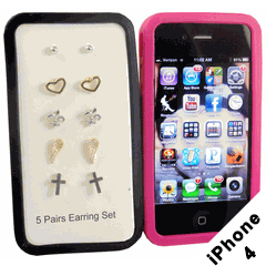 iPhone 4 / 4S Silicone Protective Case with FREE Earring Set