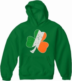 Irish Colors Vintage Distressed Shamrock Adult Hoodie