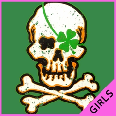 Irish Shamrock Skull and Crossbones Girls T-shirt
