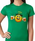 Irish St. Patrick's Day Drinking Leprechaun Emoji Ladies T-shirt