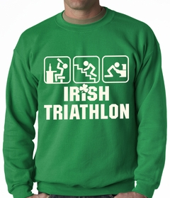 Irish Triathlon Funny St. Patrick's Day Adult Crewneck