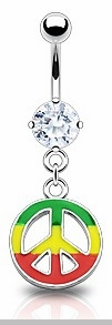 Navel Body Jewlery Jamaican Color Peace Sign Belly