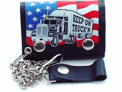 Keep On Truck'n Genuine Leather Chain Wallet