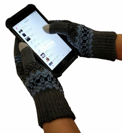 Knit Snow Flakes Texting Glove (Charcoal)