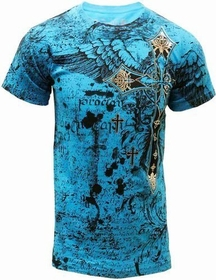 Konflic Big Cross Eagle All Over Print Mens T-Shirt (Blue)