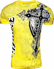 Konflic Gothic Black Cross Men's T-Shirt (Yellow)