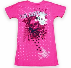 LA Ink Skull King Girls T-Shirt (Hot Pink)