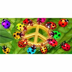 Ladybugs of Peace Velour Beach Towel