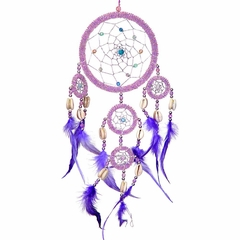 Large Pink Beaded Dream Catcher with Purple Feathers