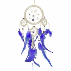 Large Quartz Beaded Dream Catcher with Blue Feathers