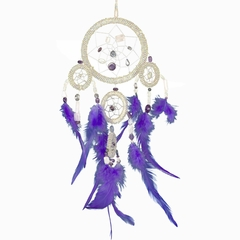 Large Quartz Beaded Dream Catcher with Purple Feathers