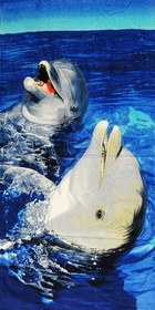 "Laughing Dolphins Beach and Bath Towel (30"" x 60"")"
