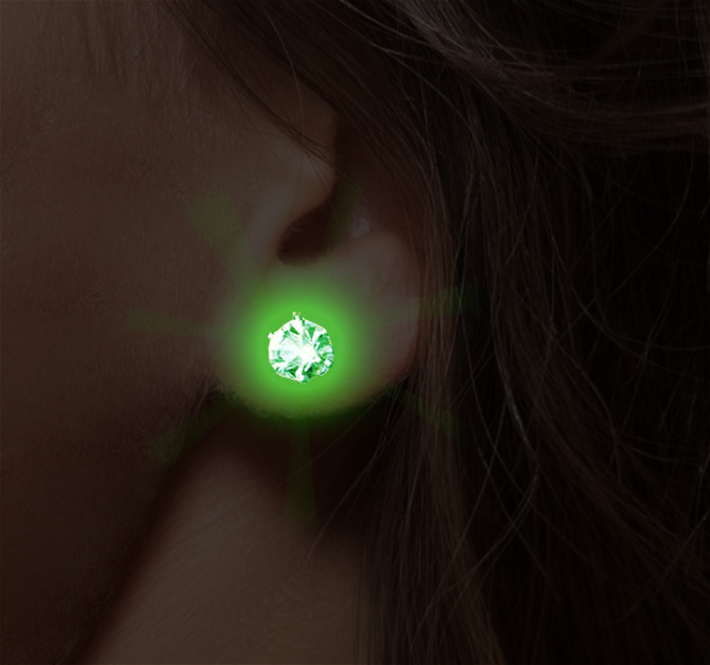 Color Led Earrings Light Up Glowing Studs Ear Ring Drop: Pair Of LED Light Up Pair Of Earrings