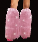 Light Up Flashing LED Furry Pink Leg Warmers