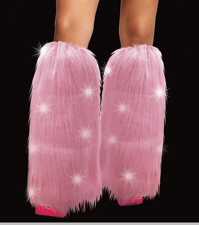 Light Up Flashing LED Furry Pink Leg Warmers<!-- Click to Enlarge-->
