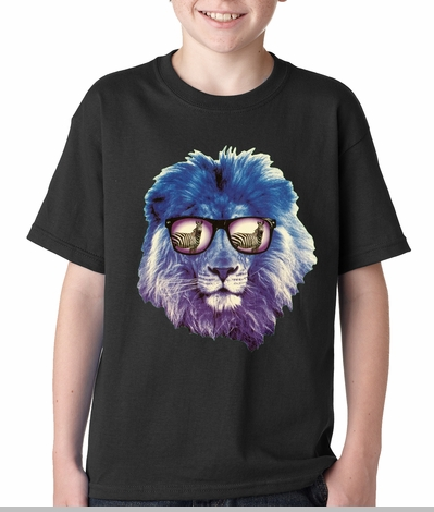 Lion Wearing Sunglasses Looking at a Zebra Kids T-shirt<!-- Click to Enlarge-->