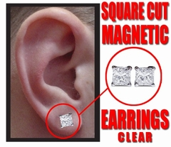 Magnetic C.Z Pair of Square Cut Earrings (Large 8mm)