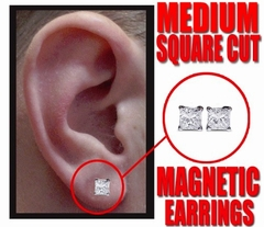 Magnetic C.Z Pair of Square Cut Earrings (Medium 6mm)