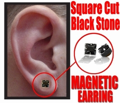 Magnetic Earrings - Black Onyx Pair of  Square Cut Fake Earrings