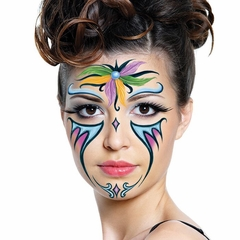 Temporary Face Tattoo - Glitter  Mardi Gras Feather