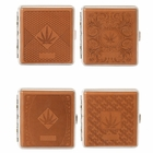 Marijuana Leaf Faux Leather Brown Cigarette Case for Regular Size Cigarettes