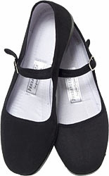 Mary Jane Cotton China Doll Slippers (Black)