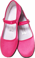 Mary Jane Cotton China Doll Slippers (Hot Pink)