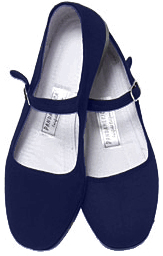 Mary Jane Cotton China Doll Slippers (Navy Blue)